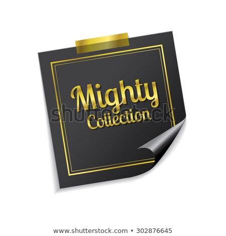 Machtig collectie gouden sticky notes vector icon Stockfoto © rizwanali3d