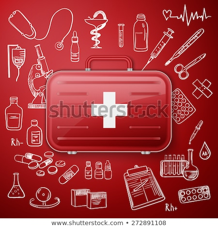 medical chest and hand draw medicine icon stock photo © netkov1