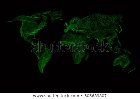 World map. Abstract vintage computer graphic of green lines Stock photo © Fosin