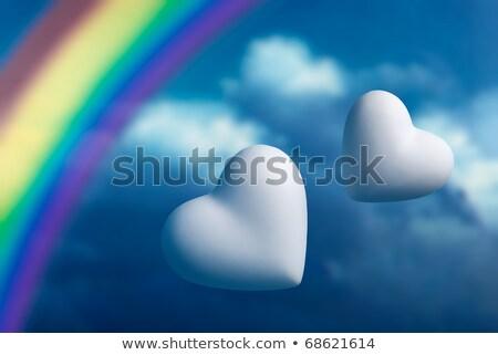 dos · corazones · arco · iris · cielo · azul · amor · naturaleza - foto stock © kirs-ua