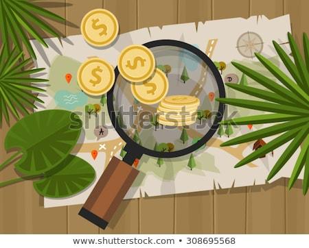 Vector Treasure Hunt Concept with Chest Stock photo © dashadima