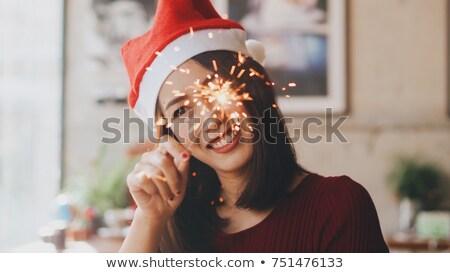 Mulher natal sparkler cinza menina Foto stock © HASLOO