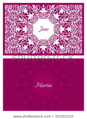 Mariage nom carte floral ornement Photo stock © liliwhite