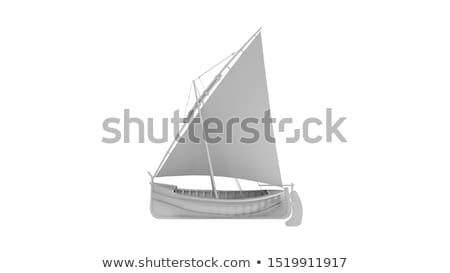 small sailing boat on the ocean   3d render stock photo © elenarts