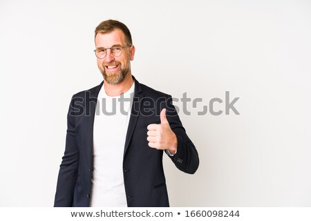 bonito · empresário · polegar · assinar · sucesso - foto stock © alexandrenunes