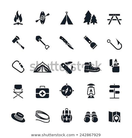 vector round camping icons stock photo © dashadima