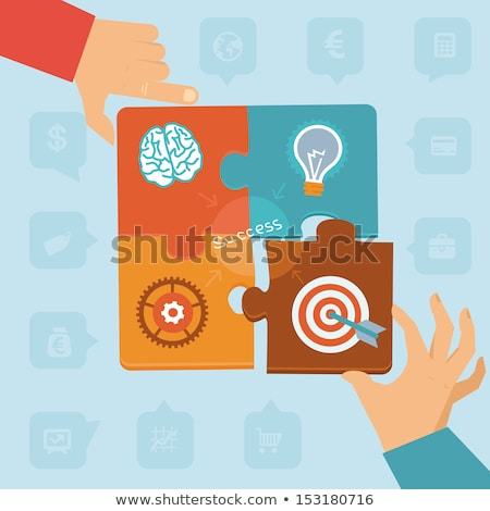 start up and business concept signs in puzzle pieces Stock photo © marinini