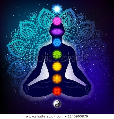 Chakras and spirituality symbols on man in lotus pose Stock photo © Winner