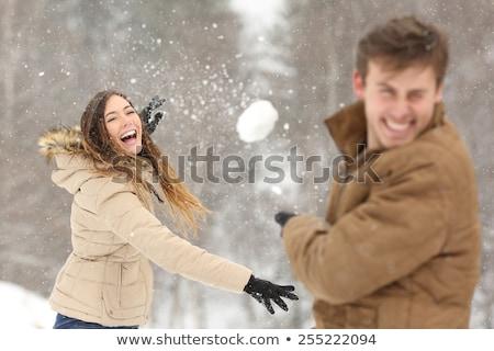 Nevet fiatal nő dob hógolyó vonzó áll Stock fotó © dash