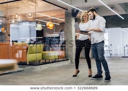 два деловые люди говорить смеясь заседание Сток-фото © deandrobot