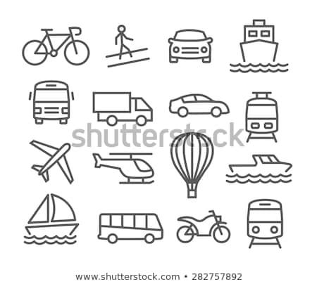 Helikopter lijn icon hoeken web mobiele Stockfoto © RAStudio