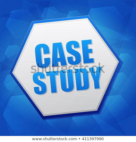 Case Study In Hexagon Over Blue Background Flat Design Stockfoto © marinini