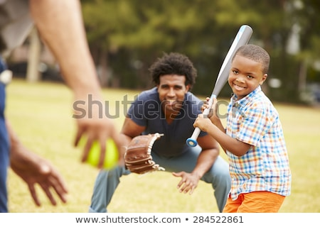 Happy Family Grandfather and Grandson Boy Playing Baseball Stock photo © diego_cervo