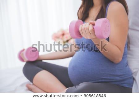 портрет Фитнес-женщины штанга сильный Сток-фото © deandrobot
