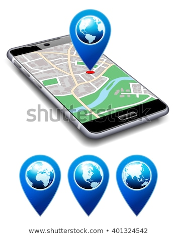 you are here   phone with map pointer icon cell smart mobile stock photo © fenton