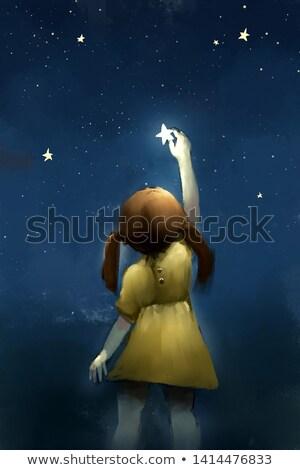 Foto stock: Menina · estrelas · branco · estudante · fundo · verde