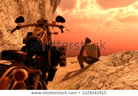 Man with motorbike on the top of mountains - 3D rendering Stock photo © ankarb