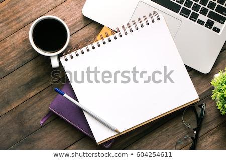 Vacío papel mesa oficina herramientas mesa de madera Foto stock © fuzzbones0
