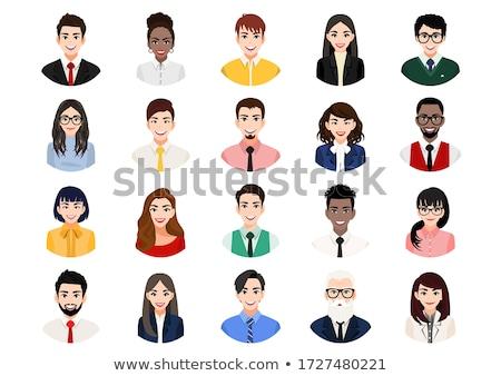 üzletemberek vektor szett fehér üzleti csapat ikonok Stock fotó © vectorikart
