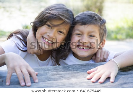 Boy and girl in native american indians Stock photo © bluering