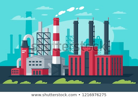 Fumar industrial céu nuvens fábrica fumador Foto stock © meinzahn