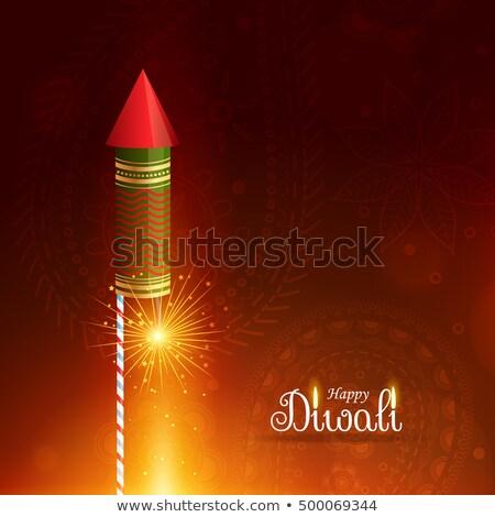 Felice diwali saluto battenti razzo candela Foto d'archivio © SArts