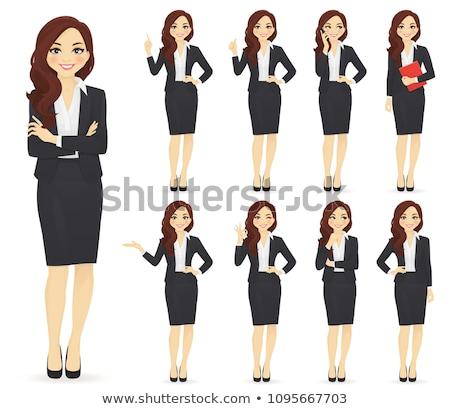 деловой женщины говорить телефон красивой Cartoon изолированный Сток-фото © maia3000