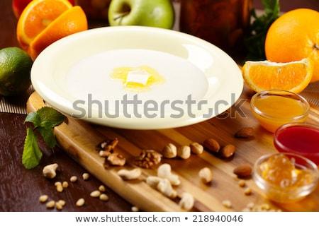Semolina pudding with fresh apple Stock photo © Digifoodstock