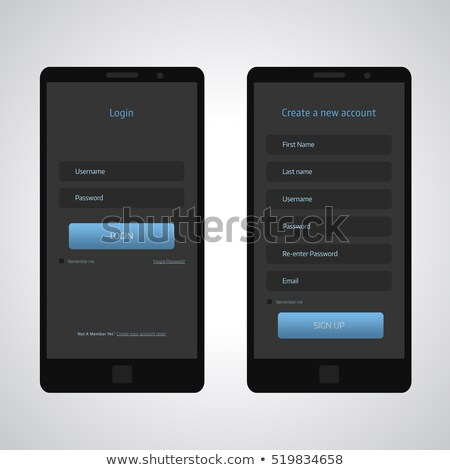 Foto stock: Dark Blue Ui Theme For Login Form