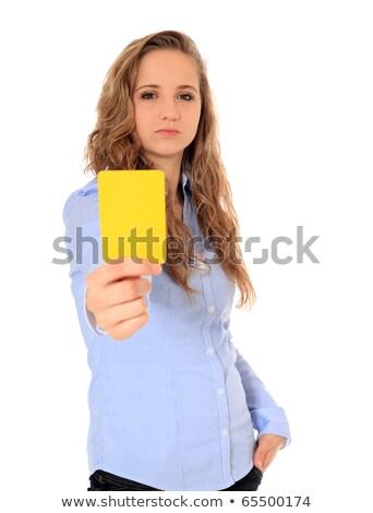 Vonzó döntőbíró mutat citromsárga kártya fiatal Stock fotó © Aikon