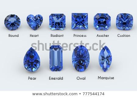 3d render Blauw diamanten ring witte bruiloft mode Stockfoto © danilo_vuletic