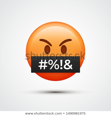 boos · emoticon · icon · cartoon · naar · woedend - stockfoto © rastudio