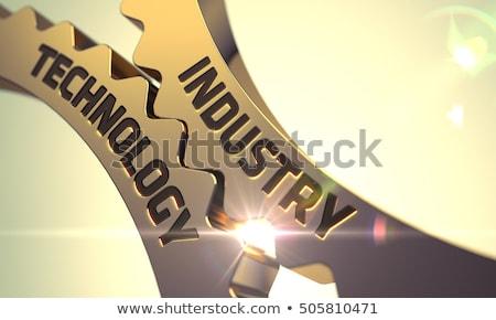 Power Industry Concept. Golden Metallic Gears. 3D Illustration. Stock photo © tashatuvango