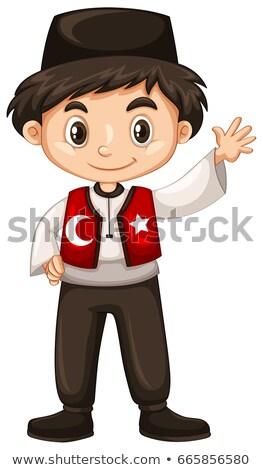 Turks jongen hand hallo illustratie Stockfoto © bluering