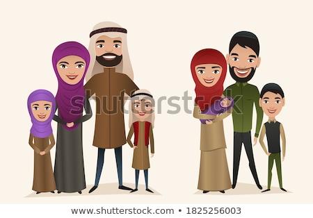 Stockfoto: Moslim · familie · permanente · cartoon · ingesteld · arab
