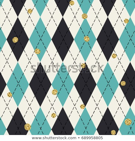 Seamless blue argyle pattern with chaotic golden dots. Tradition Stock photo © pashabo