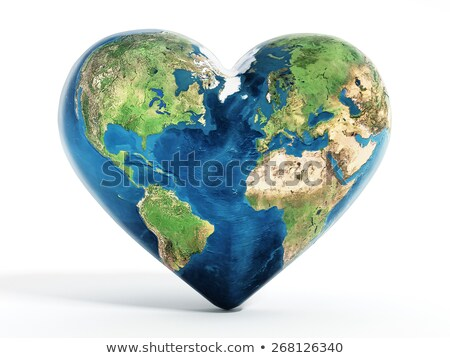globe on a Cloud-shaped heart on the sky. stock photo © rufous