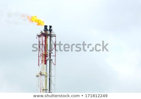 Refinería fuego gas antorcha refinería de petróleo negocios Foto stock © fogen