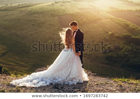 Stock fotó: Esküvő · pár · áll · szemtől · szembe · romantikus · férfi