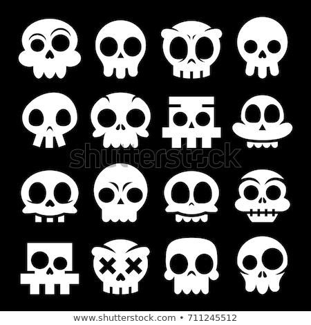 Halloween vector cartoon skull icons, Mexican white cute sugar skulls design set, Dia de los Muertos Stock photo © RedKoala
