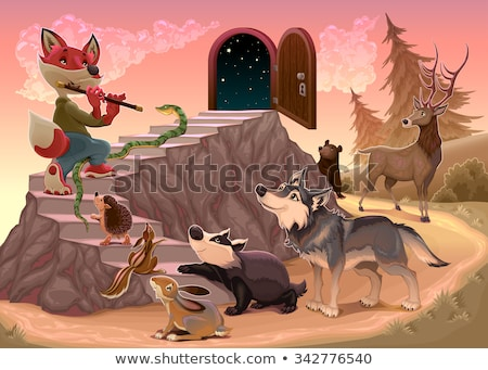Music to go beyond the fear. Fox is playing the flute Stock photo © ddraw