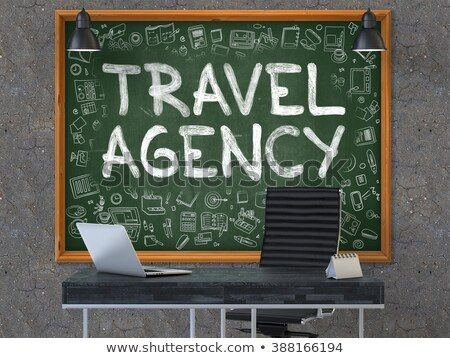 travel agency   hand drawn on green chalkboard stock photo © tashatuvango