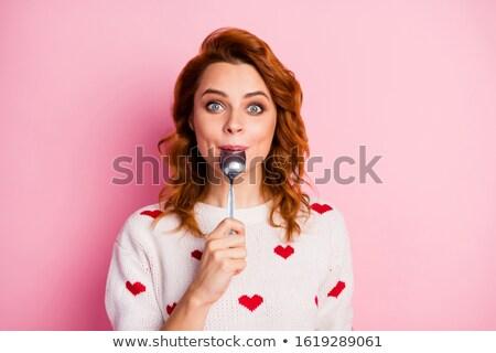 beauty girl in homemade pullover Stock photo © Traimak