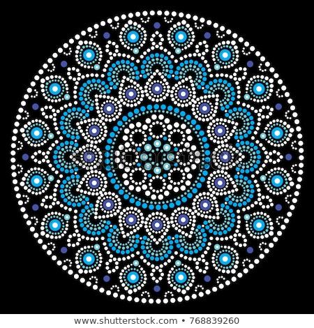 mandala vector art australian dot painting white and blue design aboriginal folk art bohemian styl stock photo © redkoala