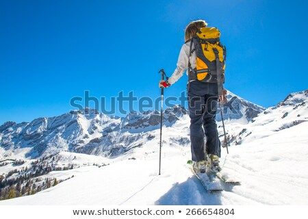woman with skis on top of mountain Stock photo © IS2