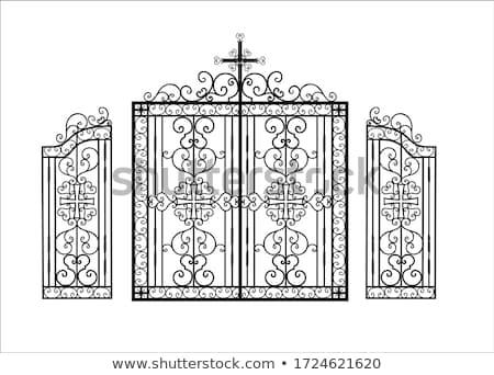 Fer clôture isolé blanche construction rue Photo stock © konturvid