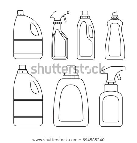Set of vector silhouettes of bottles on a white background. Bot Stock photo © NikoDzhi