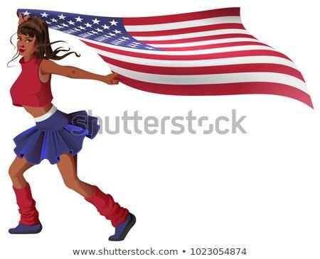 Gyönyörű fiatal nő pompomlány zászló izolált fehér Stock fotó © orensila