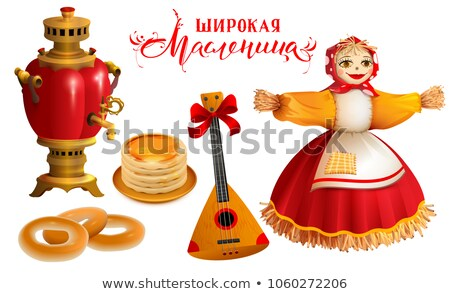 Object and accessory for Russian holiday Maslenitsa. Straw Scarecrow, samovar, pancakes, balalaika a Stock photo © orensila