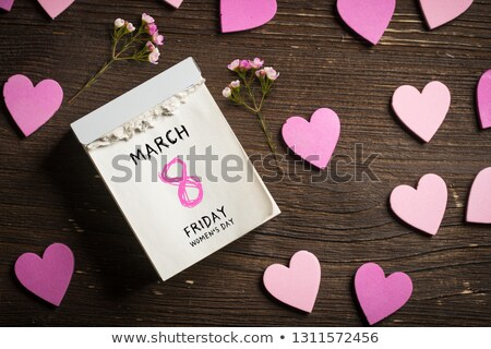 March 8 International Women's Day. Heart shaped symbol calendar reminder Stock photo © orensila